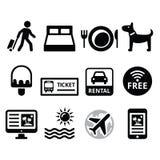 Voyage et tourisme, icônes de réservation de vacances réglées Photos stock