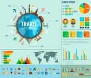 Voyage et tourisme Infographic a placé avec des diagrammes et d'autres éléments Vecteur Images stock