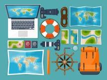 Voyage et tourisme Style plat Monde, carte de la terre Globe Déclenchez-vous, voyagez, voyagez, des vacances d'été Déplacement, e illustration de vecteur