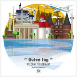 Voyage et voyage globaux B de point de repère de la république Fédérale d'Allemagne Photographie stock libre de droits