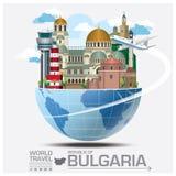 Voyage et voyage globaux Infograp de point de repère de la république de Bulgarie illustration libre de droits