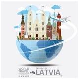 Voyage et voyage globaux Infographi de point de repère de la république de Létonie illustration de vecteur
