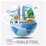 Voyage et voyage globaux Infographic de point de repère de la Malaisie illustration libre de droits