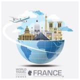 Voyage et voyage globaux Infographic de point de repère de Frances Photos libres de droits