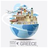 Voyage et voyage globaux Infographic de point de repère de la Grèce Images libres de droits
