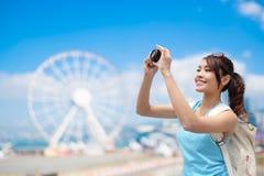 Voyage heureux de femme Image stock