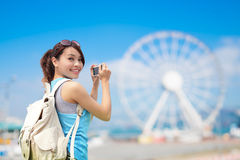 Voyage heureux de femme Photos libres de droits