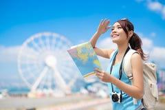 Voyage heureux de femme Image libre de droits