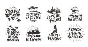 Voyage, icônes réglées de voyage Lettrage manuscrit Illustration de vecteur de label illustration stock