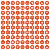 100 voyage icons hexagon orange. 100 voyage icons set in orange hexagon isolated vector illustration Royalty Free Stock Photo