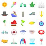 Voyage icons set, cartoon style. Voyage icons set. Cartoon set of 25 voyage vector icons for web isolated on white background Royalty Free Stock Photography