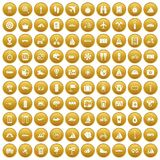 100 voyage icons set gold. 100 voyage icons set in gold circle isolated on white vectr illustration Vector Illustration