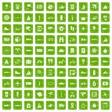 100 voyage icons set grunge green. 100 voyage icons set in grunge style green color isolated on white background vector illustration Royalty Free Stock Photos
