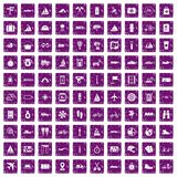 100 voyage icons set grunge purple. 100 voyage icons set in grunge style purple color isolated on white background vector illustration Stock Image