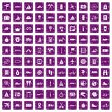 100 voyage icons set grunge purple. 100 voyage icons set in grunge style purple color isolated on white background vector illustration Royalty Free Illustration