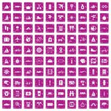 100 voyage icons set grunge pink. 100 voyage icons set in grunge style pink color isolated on white background vector illustration Royalty Free Stock Photography