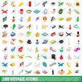 100 voyage icons set, isometric 3d style. 100 voyage icons set in isometric 3d style for any design vector illustration Royalty Free Stock Photos