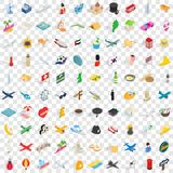 100 voyage icons set, isometric 3d style. 100 voyage icons set in isometric 3d style for any design vector illustration Stock Photography