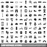 100 voyage icons set, simple style. 100 voyage icons set in simple style for any design vector illustration royalty free illustration