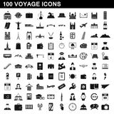 100 voyage icons set, simple style Stock Photography