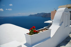 Voyage idyllique vers l'île de Santorini Photos stock