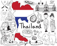 Voyage à l'icône de dessin de griffonnage de la Thaïlande Siam Image stock