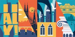 Voyage ? la banni?re de vecteur de l'Italie, illustration Horizon de ville, b?timents historiques illustration stock