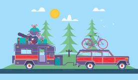 Voyage par la route, aventure, caravanage, fond campant de concept Voyage en la voiture Caravanage de club de fans Voyage vers l' Photos libres de droits
