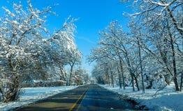 Voyage par la route de campagne dans l'hiver images libres de droits