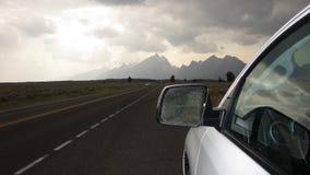 Voyage par la route de jour pluvieux en parc national grand de Teton Photographie stock