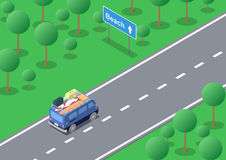 Voyage par la route isométrique illustration libre de droits