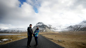 Voyage par la route supérieur asiatique en Europe, Islande Le résumé apprécient l'amour a Images stock