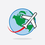 Voyage plat autour de monde Images libres de droits