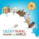Voyage rêveur autour du monde illustration stock