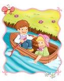 Voyage romantique dans le bateau illustration stock