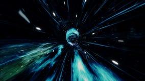 Voyage sans couture par un trou de ver par le temps et espace rempli de millions d'?toiles et de n?buleuses L'espace de trou de v clips vidéos