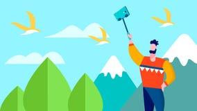 Voyage Selfie sur la bannière de blog de voyageur de montagnes illustration stock