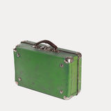 Voyage suitcase green color. isolated Royalty Free Stock Images