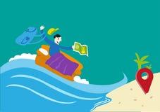 Voyage sur un concept de budget ou de Couchsurfing Un voyageur sur un divan arrive dans un emplacement qu'il souhaite Clipart (im illustration de vecteur