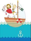 Voyage sur un yacht illustration de vecteur