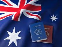 Voyage, tousism ou immigration dans le concept de l'Australie Différents passeports sur le drapeau australien illustration stock