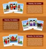 Voyage vers l'Asie Ensemble de bannières horizontales de Web avec l'endroit pour le texte La Chine, la Corée du Sud et le Vietnam illustration stock