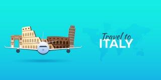 Voyage vers l'Italie Avion avec des attractions Drapeaux de course Style plat Photos stock