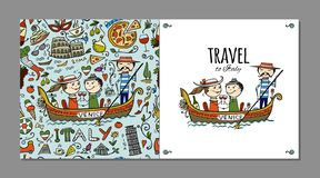 Voyage vers l'Italie Carte de voeux pour votre conception illustration stock