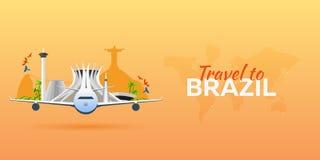 Voyage vers le Brésil Avion avec des attractions Drapeaux de course Style plat Photographie stock libre de droits