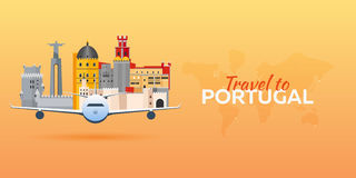 Voyage vers le Portugal Avion avec des attractions Drapeaux de course Style plat Photos libres de droits