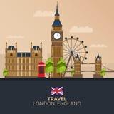 Voyage vers Londres Vacances Voyage par la route tourisme Voyage Ville de déplacement de Londres d'illustration Conception plate  Images libres de droits