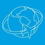Voyageant autour de l'icône du monde, style d'ensemble Photo stock