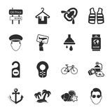 Voyagent l'ensemble universel de 16 icônes pour le Web et le mobile Photos libres de droits