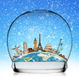Voyagent le concept de boule de neige de monument du monde Images libres de droits